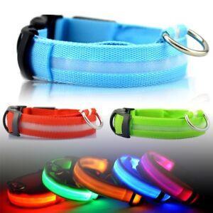 LED Dog Pet Collar Flashing Luminous Safety Light Up Nylon Fast&Free Delivery UK