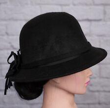 Black Hat Cloche 1920s Wool Blend Felt Bow Back 1930s 1940s WW2 Vintage Style