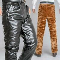 New  Men's Pu Leather Pants Thicken Fur lining Warm Outdoor Motorcycle Casual @