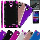 For AT&T RADIANT CORE Phone Case +TEMPERED GLASS / Brushed Hybrid Cover Combat