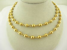 "Vintage Ladies Two Bead Necklaces 7mm 17"" and 19"" Long Yellow Gold plate"