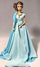Gold Label Silkstone Barbie Blue Chiffon Ball Gown Doll DYX74 Displayed Doll