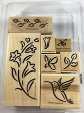 Stampin Up Brushstroke Hummingbird Rubber Stamp Set Flowers Butterfly Bee Etc