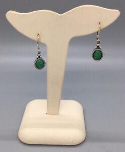 Carolyn Pollack Sterling Silver Green Turquoise Pierced Dangle Earrings