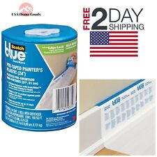 Scotch Blue Pre-Taped Painter's Plastic Edge-Lock Masking Drop Drip Cloth Film