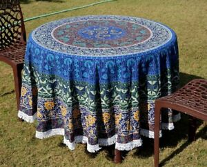 Indian Cotton Mandala Table Cloths Round Wall Hanging Multi Blanket Beach Throw