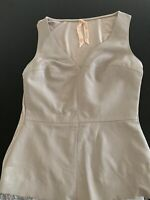 Beige Leather Top By BAILEY 44 Sz S V Neck Sleeveless Sexy