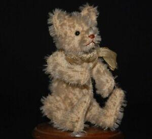 uralter weißer Miniatur Steiff Teddybär mit Knopfaugen * Höhe 9 cm * um 1910