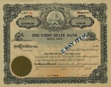 C1905 First State BanK Bogata Texas Stock Certificate Banking Scripophily Banker