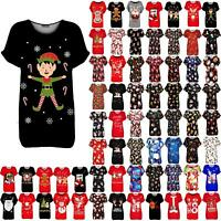 Womens Ladies Xmas Snowflakes Elf Candy Stick Oversized Christmas Baggy T Shirt