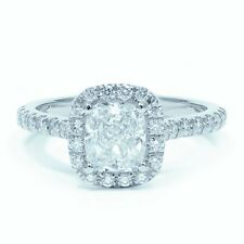 Platinum 1.30 Carat Cushion Diamond Claw Set Engagement Ring