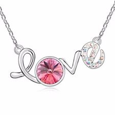 18K Gold GP Swarovski Element Crystal Love Lettering Pendant Necklace Pink