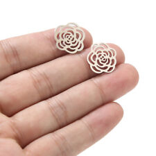20pcs Stainless Steel Rose Flower Charms Hollow Connectors for Jewelry Making