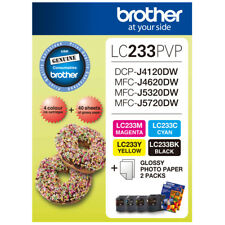 2x Brother Genuine LC233PVP Value Pack (LC233BK LC233C LC233Y LC233M + Paper)