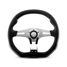 MOMO Trek-R 350mm Black Leather Chrome Race Steering Wheel - TRK-R35BK0B