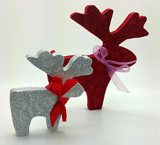 RED SILVER STAG GLITTER REINDEERS DEER CHRISTMAS DECORATION SHABBY CHIC HOME