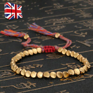 1pc Handmade Tibetan Buddhist Braided Cotton Copper Beads Lucky Rope Bracelet UK