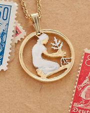 "Germany Pendant & Necklace, German 50 Pfennig Cut Coin, 3/4"" diameter ( # 111 )"