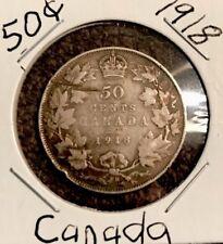 1918 50c Canada 🇨🇦 Silver Half Dollar
