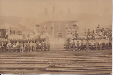 1880s CABINET PHOTO SMAA OF NA STRIKERS? ON PATRIOTIC LOCOMOTIVE TRAINS