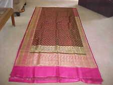 GREEN Gold Pure SILK MAGNIFICENT Sari BROCADE Fabric RARE Panels DRAPES Curtains
