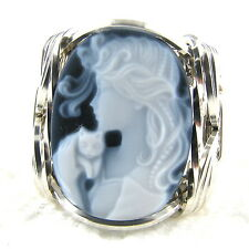 Lady Cat Black Agate Oval Stone Cameo Ring 925 Sterling Silver Jewelry Any Size
