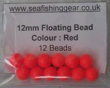 Bag of 12, 12mm Floating Beads, (Foam Colour Red)
