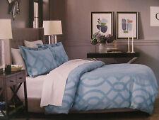 Fieldcrest Luxury 3 Piece Duvet Cover Set Shams Queen Geo Teal Blue Modern Nip