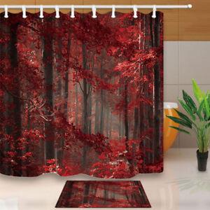 Autumn Red Leaves Tree Forest Bathroom ShowerCurtainWaterproofFabric 12 Hooks
