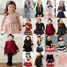 Kid Girl Princess Long Sleeve Tutu Skirt Dress Toddler Autumn Party Clothes 2-9Y