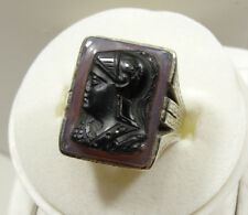 14K White Gold Spartan Head Ring, Vintage Cameo, Black Onyx, Opal, 14KT, #R63