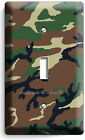 GREEN MILITARY ARMY CAMO CAMOUFLAGE SINGLE LIGHT SWITCH WALL PLATE MANCAVE DECOR