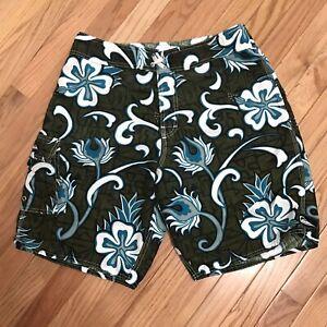 Quiksilver Board Shorts Swim Trunks Men's Size 32 Pocket Hibiscus Blue Flower
