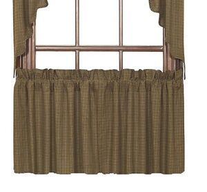 Tea Cabin Green Plaid Tier Set Curtains Rustic Primitve Sage Olive Check 24x36