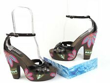 Colin Stuart Women's Size 8 Brown Platform Embroidered Floral 70s Style Heels