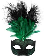 Gina Green And Black Feathered Eye Mask One Size