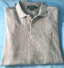 Lauren by Ralph Lauren Mens polo long sleeve gray purple crown green tag size sm