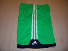 ADIDAS GREEN W/WHITE STRIPES ATHLETIC SHORTS BOYS MEDIUM 10-12 EXCELLENT