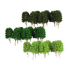 30pcs plastique vert modèles d'arbres peints mise en page 1/100 échelle HO