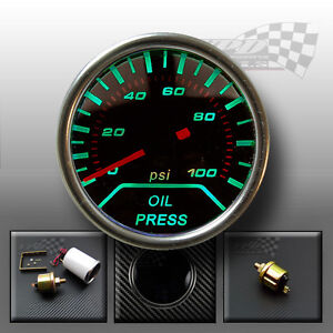 """Green LED PSI oil pressure smoked dial face gauge dash panel 52mm 2"""" interior"""