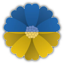 Ukraine Flag Flower Car Bumper Sticker Decal 5'' x 5''