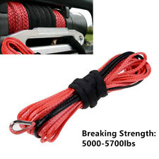 1PC 1/4'' x 50' Synthetic Fiber Winch Rope Cable Line for ATV UTV Off-road Red