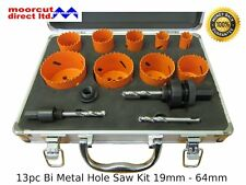 HSS Bi Metallo Hole Saw KIT 19 mm - 64 mm Foro Tagliatrici Hex RACCORDO Standard Chuck