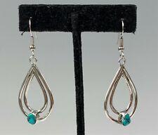 Sterling Silver Teardrop Shaped Earrings w/ Turquoise Nuggets