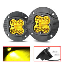 2X 5in Flush Mount Round Yellow LED Pods Work Light Bar Fog Driving Lamp SUV 4WD