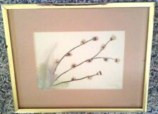 """Original Watercolor Feathers Pussy Willow Branches Signed 1992  8"""" X 10"""" Framed"""