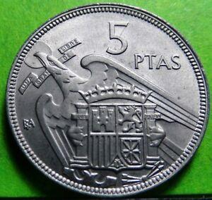 UNC  FRANCISCO FRANCO 5 Pesetas 1957 * BA (Barcelona)  Copper-Nickel  SPAIN