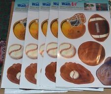 8 lot SPORTS Self Adhesive DECALS Washable STICKERS Wall Art Foot Baseball