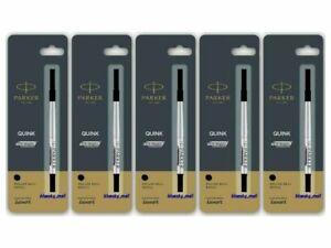 5 X Parker Quink Navigator RollerBall Pen Refills, Medium Nib 0.7mm - Black Ink