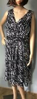 Savoir Womens Fit And Flare Dress Black Grey Animal Print UK Size 20 BNWT